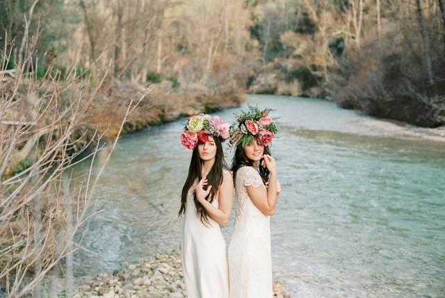 novia inspiración otaduy boho bohemia romántica maxi corona de flores
