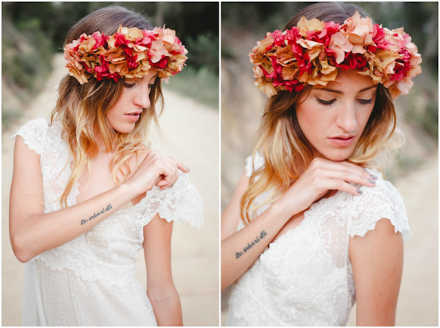 novias boho bohemias vestido vintage inma cle maxi corona hortensias
