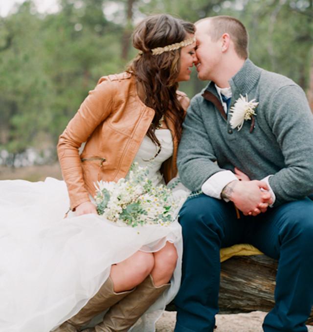 boda novia cuero piel leather wedding bride cuir boho hippy ideas