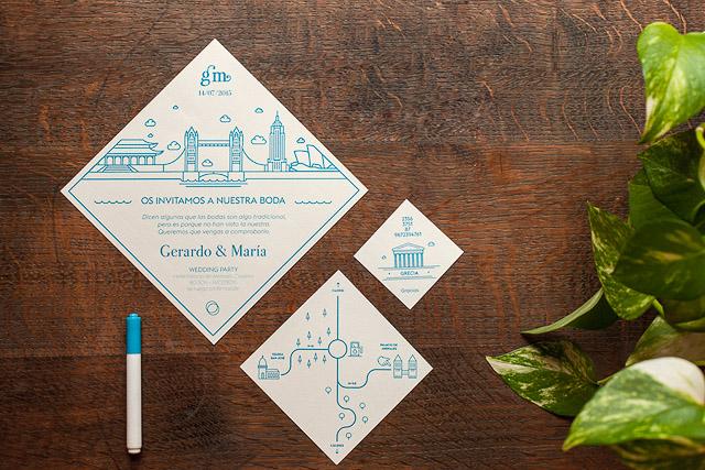 invitaciones boda originales invita rombo diseño ideas 4