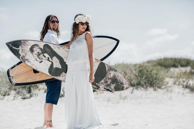 estilo boho novia boda surfera playa corona flores mejor blog perfecta original