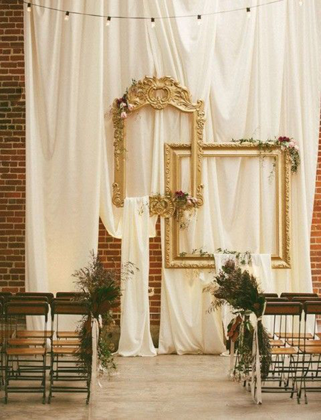 decoración bodas interior ceremonia chuppah backdrop telas velas flores