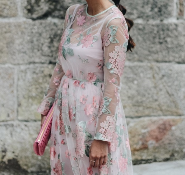 invitada vestido bordado boda fiesta flores embroidery dress tulle